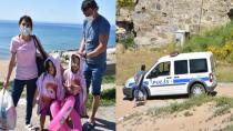 Sinop'ta denize giren gurbetçi aileye polis engeli