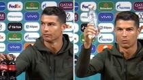 Ronaldo'dan basın toplantısında 'kola içmeyin' mesajı